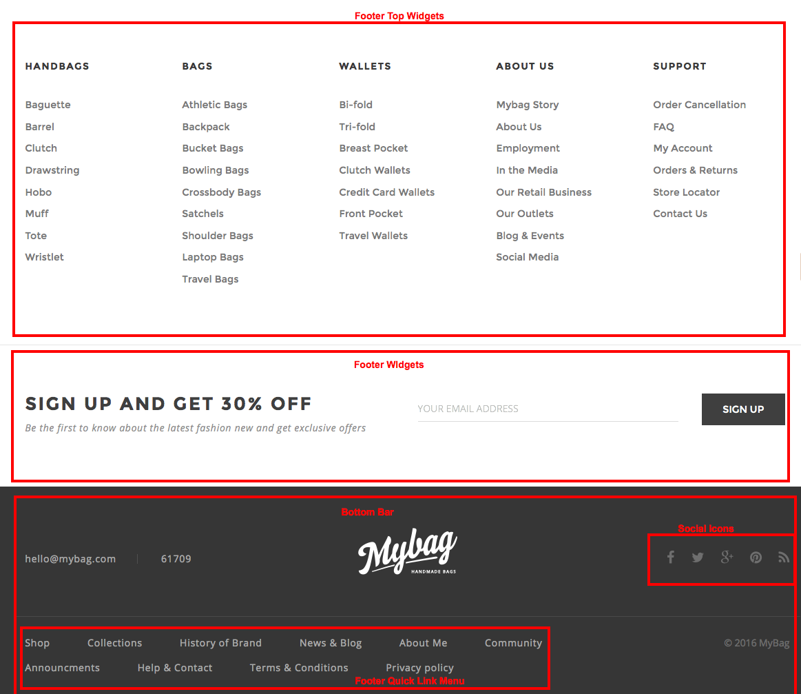 how to change the footer in pages